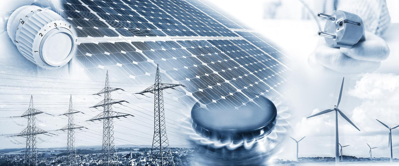 Approvvigionamento di energia con elettricità e gas fotografia stock libera da diritti