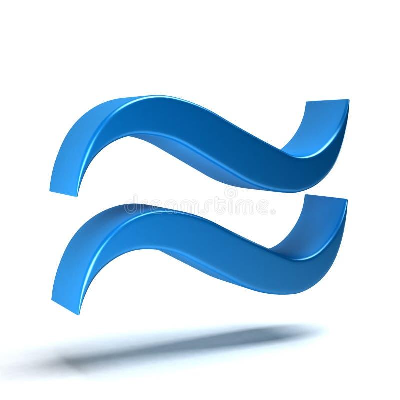 Approximately Equal Math Symbol. 3D Rendering Illustration royalty free illustration