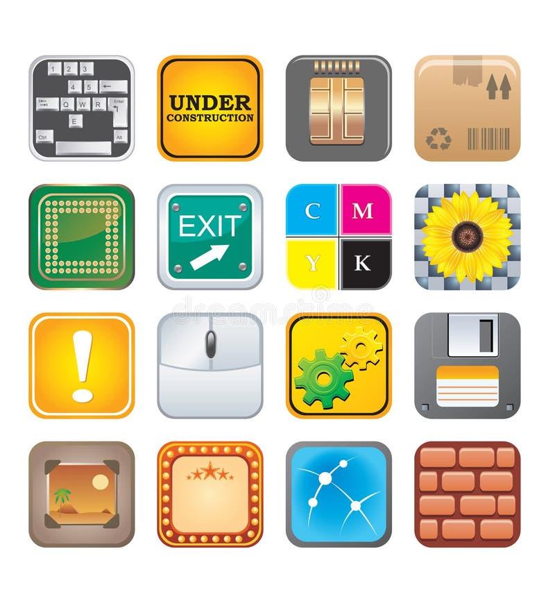 Apps图标设置了五 库存例证