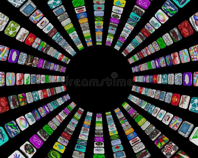 apps κυκλικό κεραμίδι προτύπ&ome διανυσματική απεικόνιση