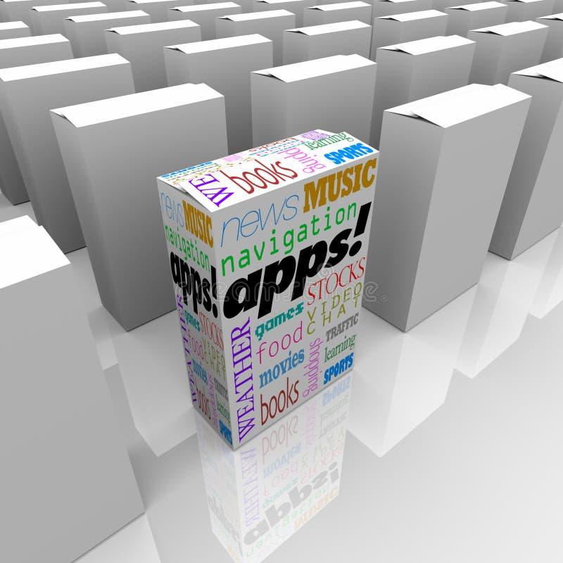 apps применения кладут много магазин в коробку ПО иллюстрация вектора