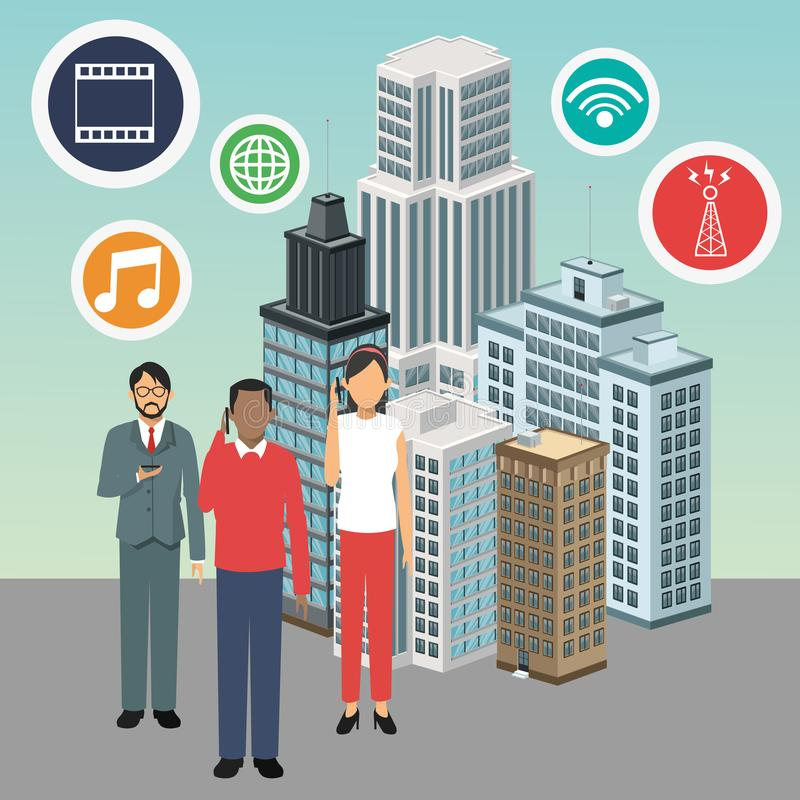 Apps avatars building smart city icon. Vector graphic. Apps avatars building smart city icon. Colorfull and flat illustration. Vector graphic stock illustration