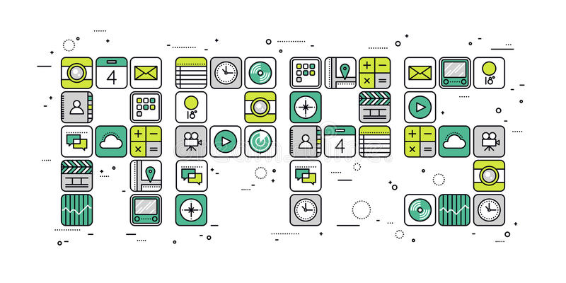 Apps begreppslinje stilillustration stock illustrationer
