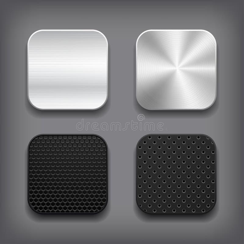 Apps belägger med metall symbolsuppsättningen. stock illustrationer