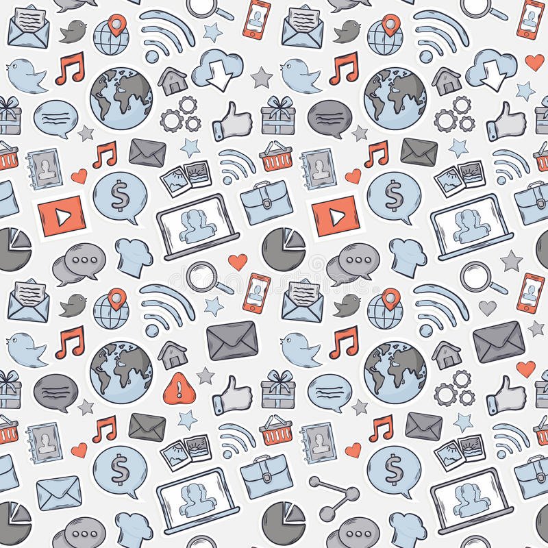Apps bleus, gris, rouges de mobile d'autocollant illustration libre de droits
