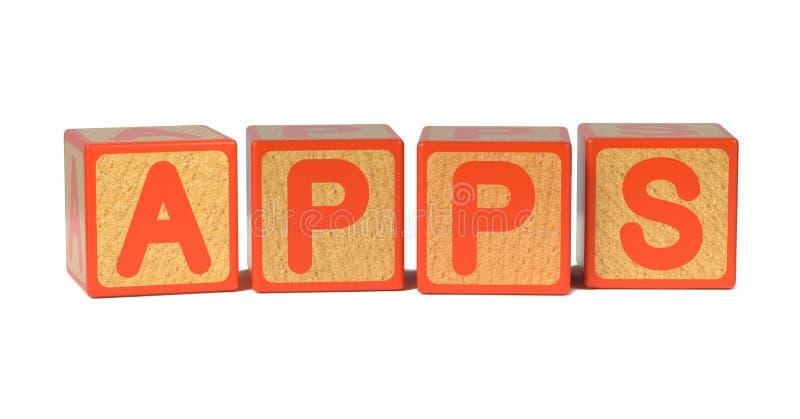 Apps - blocos do alfabeto das crianças coloridas. ilustração do vetor
