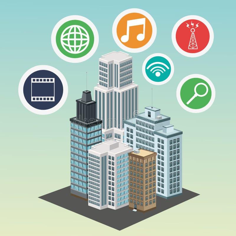 Apps building smart city icon. Vector graphic. Apps building smart city icon. Colorfull and flat illustration. Vector graphic stock illustration