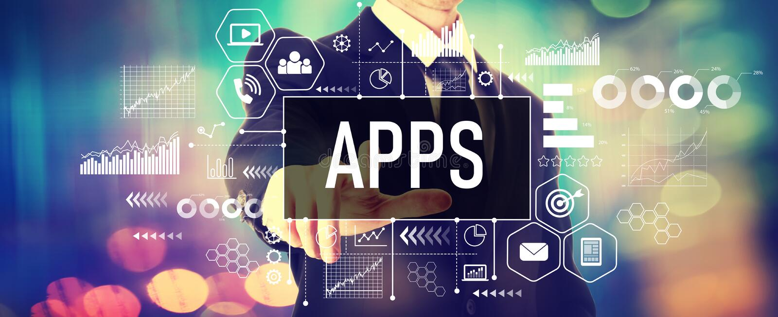 Apps with a businessman. On a shiny background stock photos