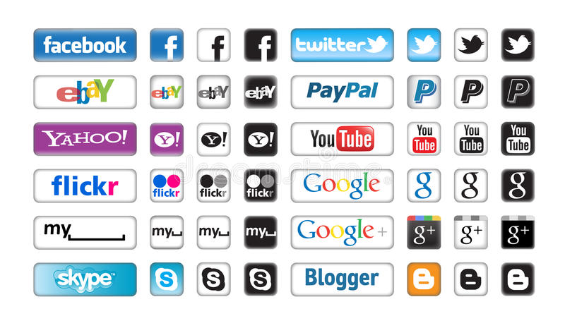 Apps Buttons for Social Networking. An image showing major social networking buttons of companies who have a great impact on the general internet experience. The