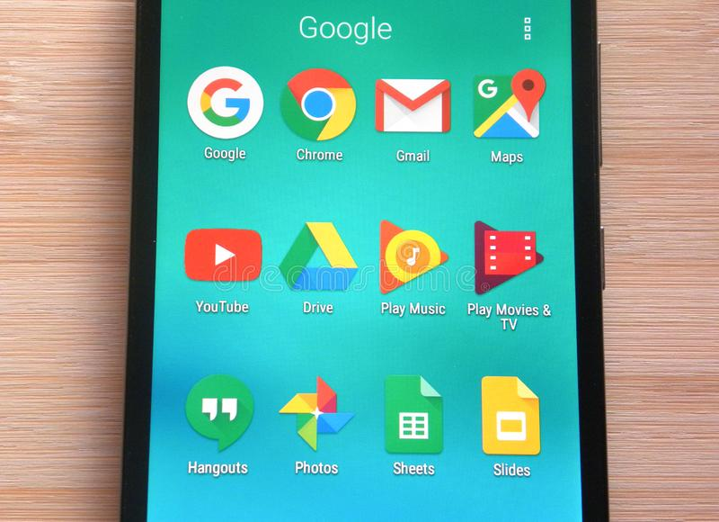 Apps de Google no telefone celular fotografia de stock