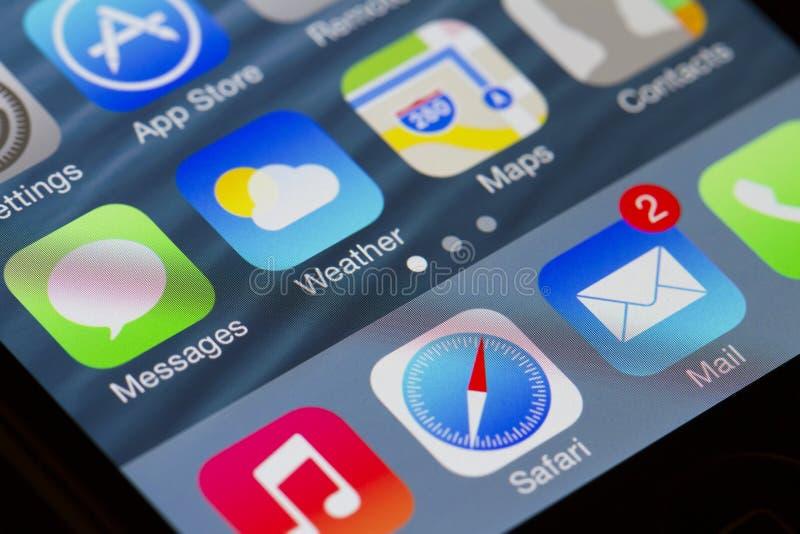 Apps de la pantalla de Iphone fotografía de archivo