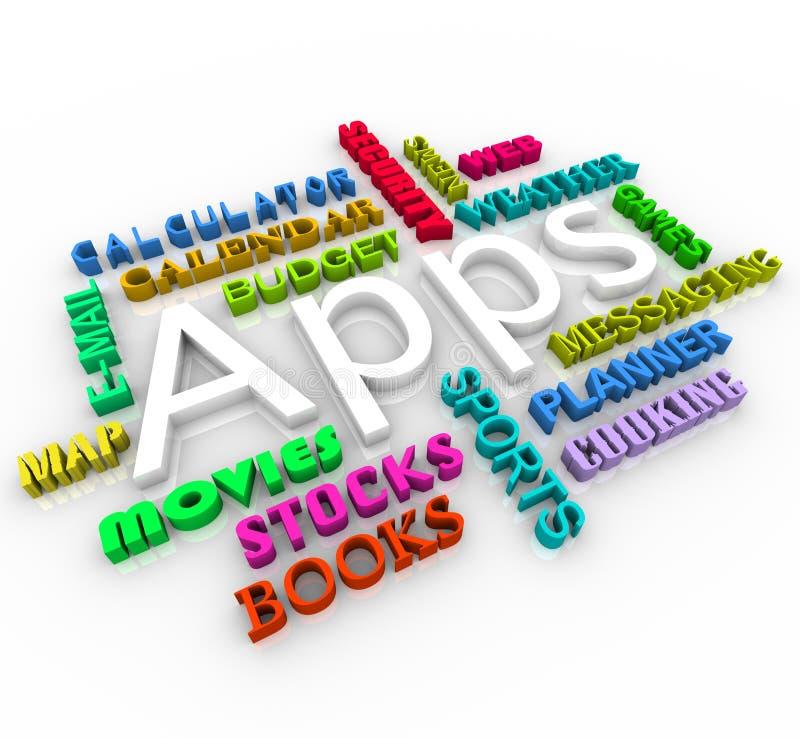 Apps - de Slimme Collage van Word van de Toepassing van de Telefoon royalty-vrije illustratie