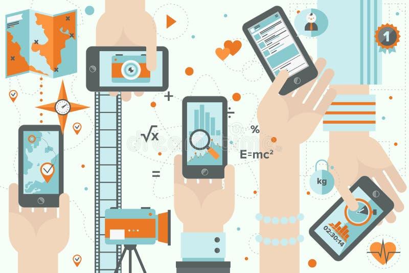 Apps di Smartphone nell'illustrazione piana di progettazione di azione illustrazione vettoriale
