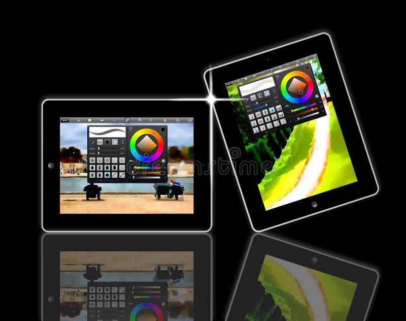 Apps do livro do esboço do iPad de Apple ilustração royalty free