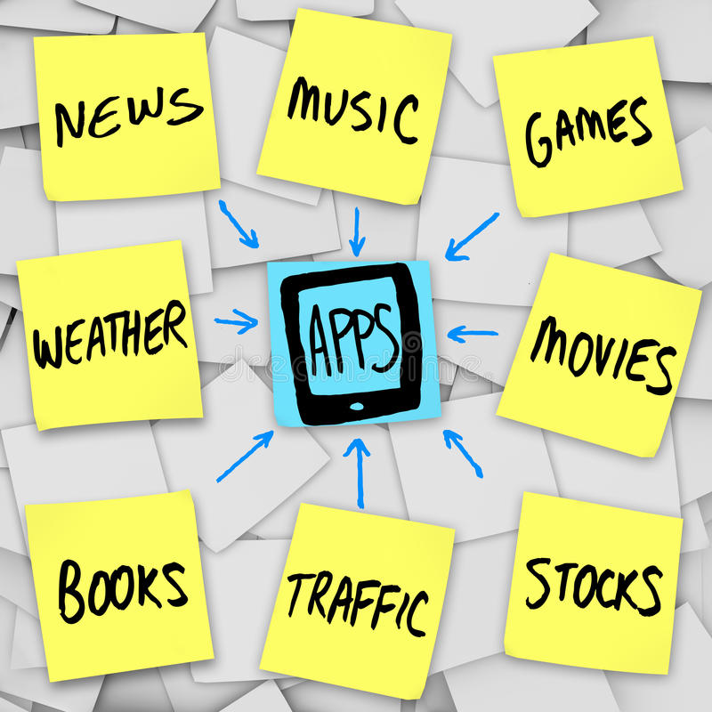 Apps Download Smart Phone Sticky Notes. Several categories of apps written on sticky notes with arrows symbolizing the downloading of application programs into royalty free illustration