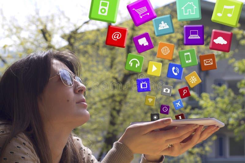 Apps fliegen in die Luft stockfotografie