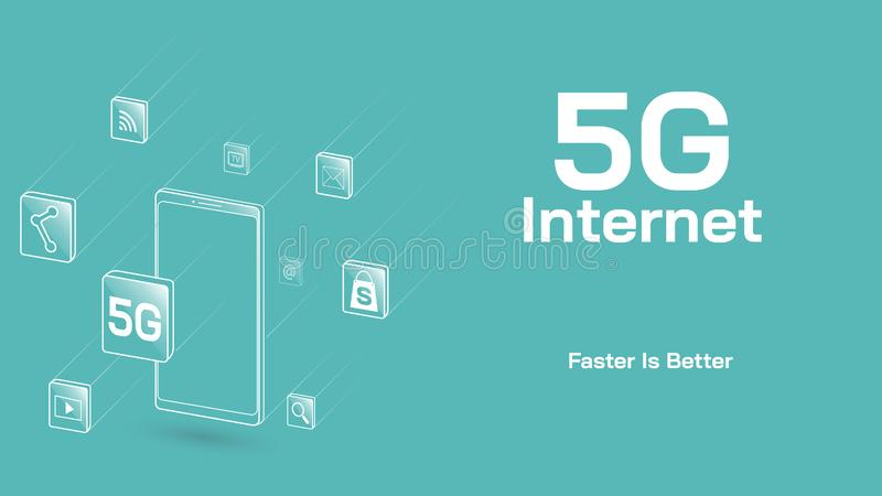 Apps flotantes del ejemplo del vector y teléfono móvil usando Internet 5G stock de ilustración