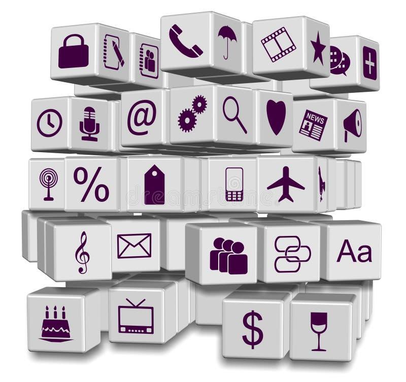 Apps i kuber stock illustrationer
