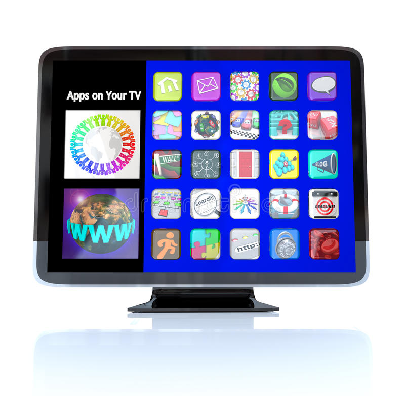 Apps Icon Tiles on High Definition Television HDTV. A HDTV television with a menu of application app icons on screen representing a wide range of options for vector illustration