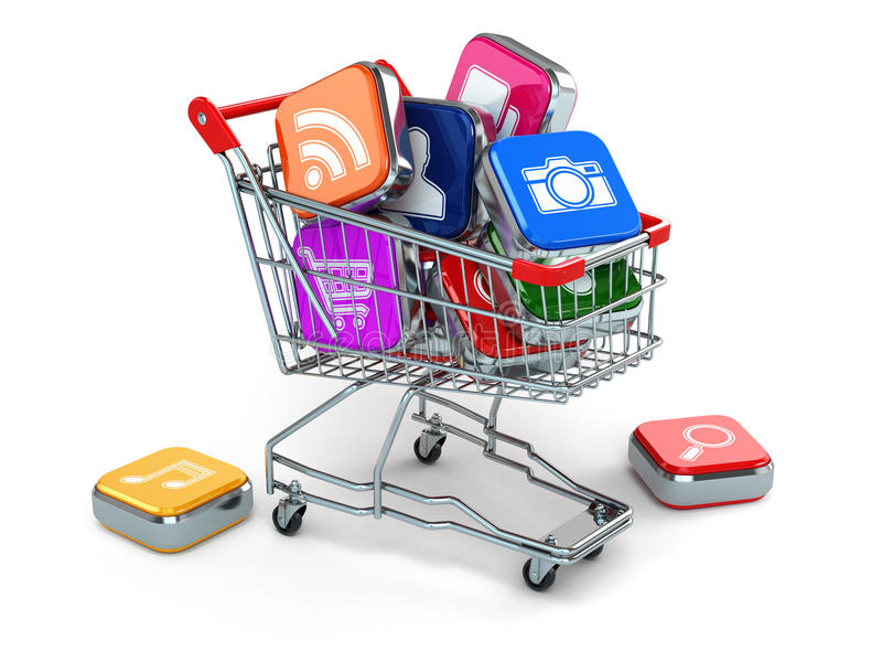 Apps icons in shopping cart. Store of computer software. 3d royalty free illustration