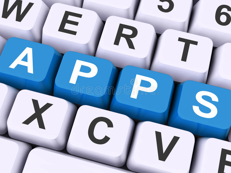 Apps Keys Shows Web Application Or Applications. Apps Keys Showing Web Application Or Applications royalty free stock image
