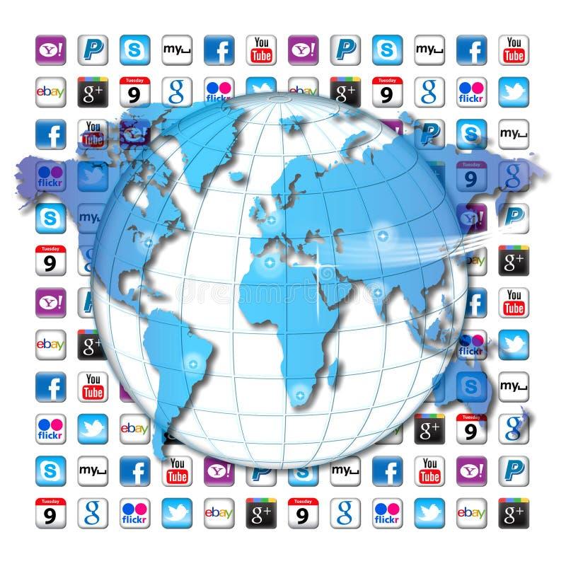 Apps kommunikationsvärld stock illustrationer
