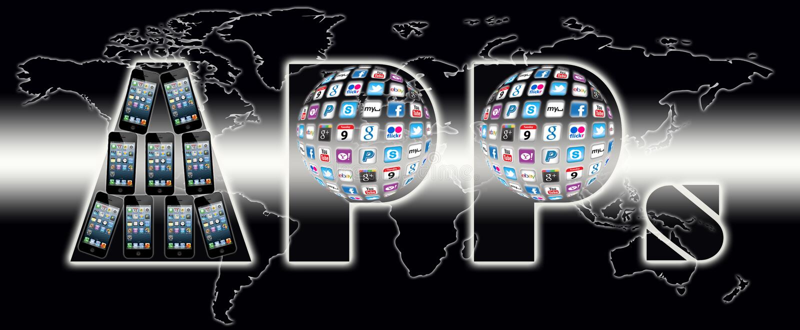 Apps komunikaci świat royalty ilustracja