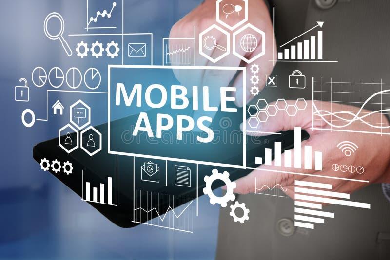 Apps móvel no conceito do negócio fotografia de stock royalty free