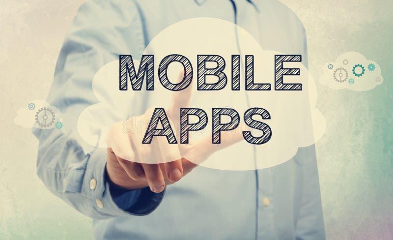 Apps móvil con el hombre de negocios fotos de archivo