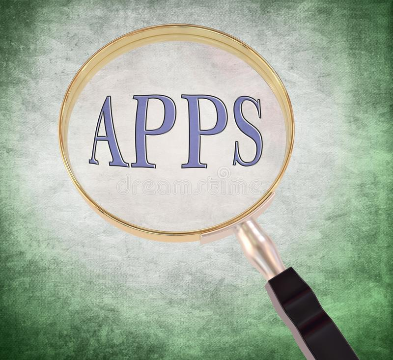 Apps magnify. By 3d rendered magnifying glass on green grunge background stock illustration