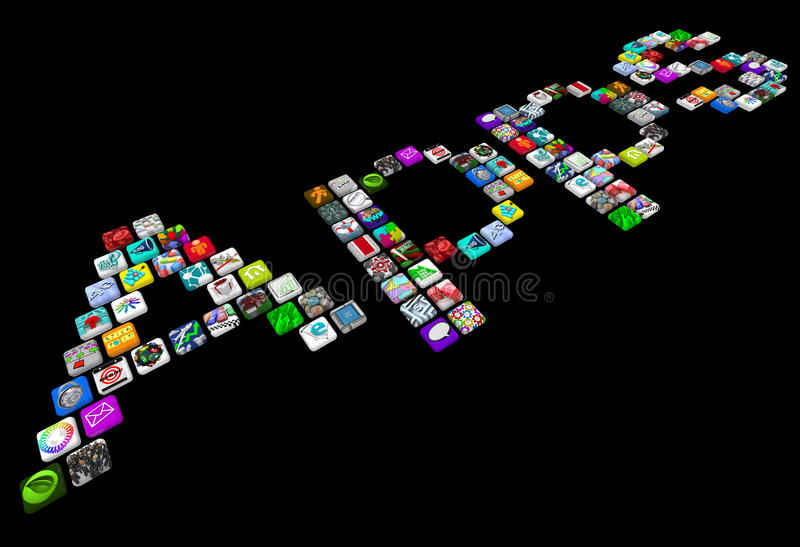 Apps - Many Tile Icons of Smart Phone Applications. Many smart phone app icons spell out the word Apps