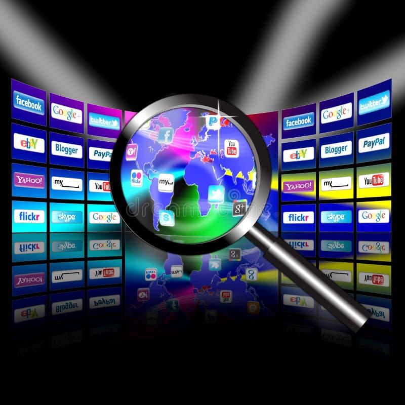 apps mobilna sieci prezentaci wideo ściana ilustracja wektor
