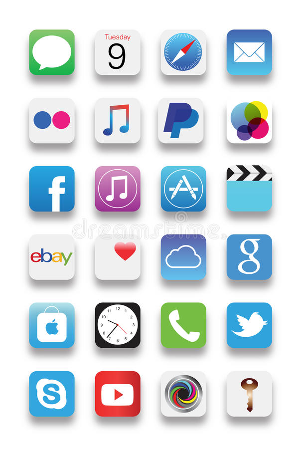 Apps novos de Iphone ilustração stock