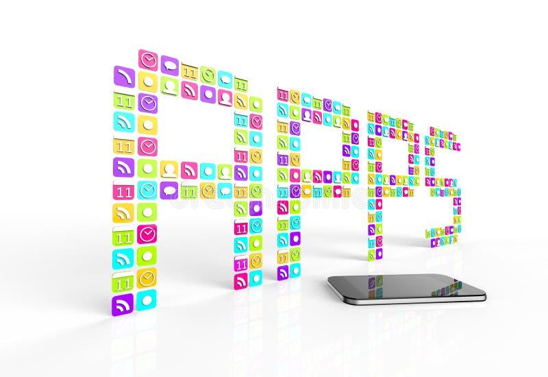Apps och mobiltelefon royaltyfri illustrationer