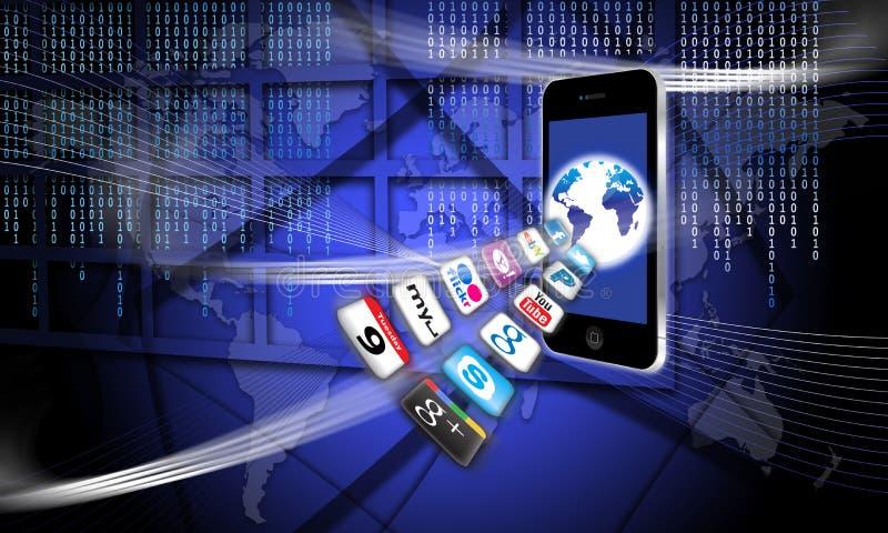 Apps op een veilig mobiel draadloos netwerk royalty-vrije illustratie