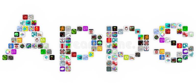 Apps - palavra do formulário dos ícones da telha no fundo branco