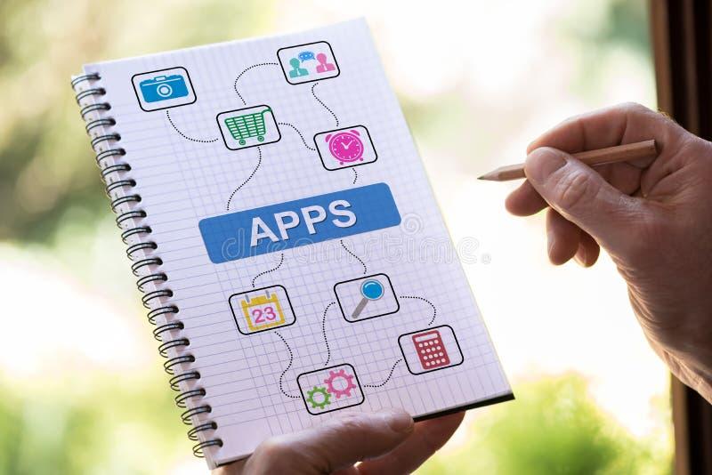Apps pojęcie na notepad zdjęcie royalty free