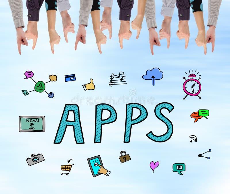 Apps pojęcie na ścianie fotografia stock