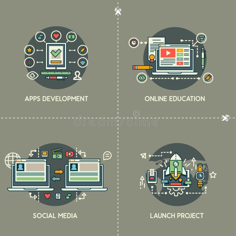 Apps rozwój, Online edukacja, Ogólnospołeczni środki, wodowanie projekt ilustracji