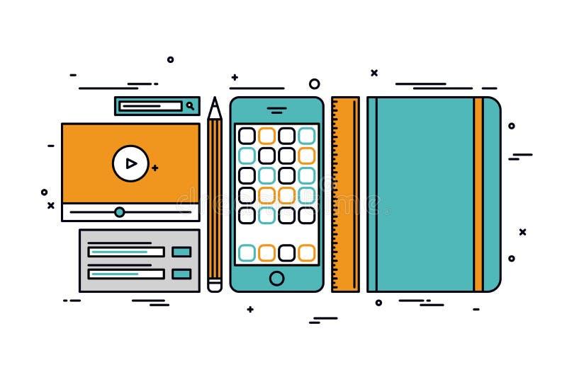 Apps rozwija kreskowego stylu ilustrację royalty ilustracja
