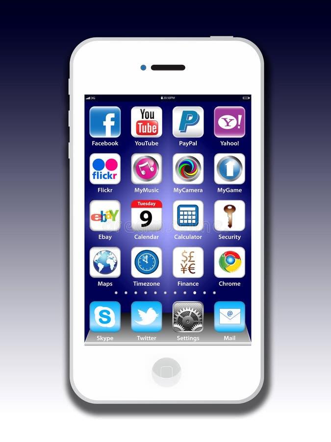 Apps sociais do Madia em um iPhone 4 de Apple ilustração stock
