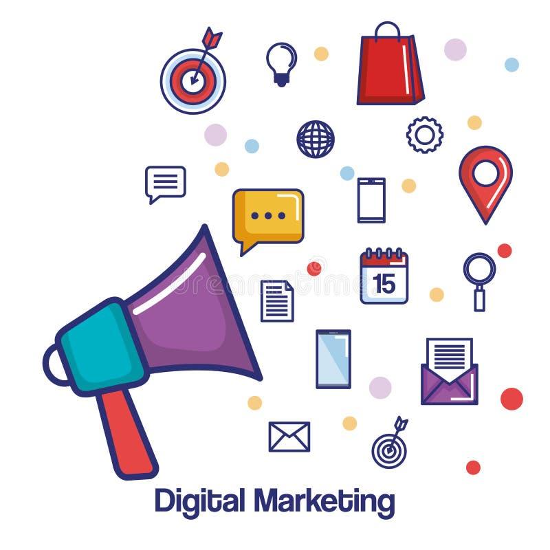 Apps sociales del anuncio del megáfono del márketing de Digitaces medios libre illustration