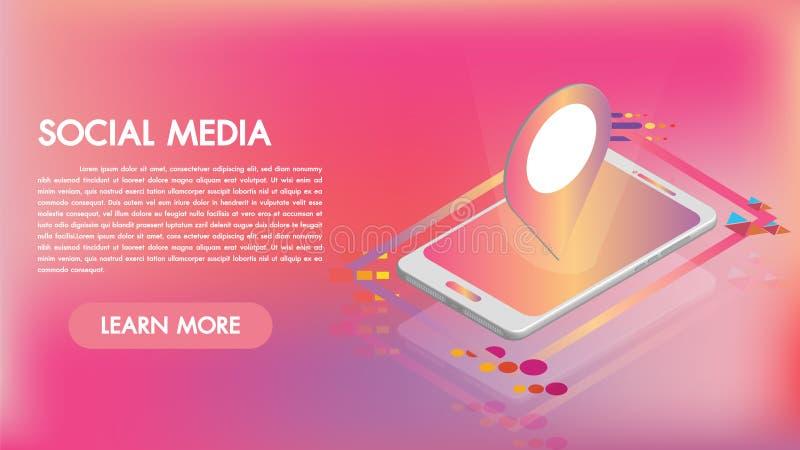 Apps sociali di media sulle icone isometriche dello smartphone un 3d Tecnologia astuta dei apps mobili Creato per il cellulare, d illustrazione vettoriale