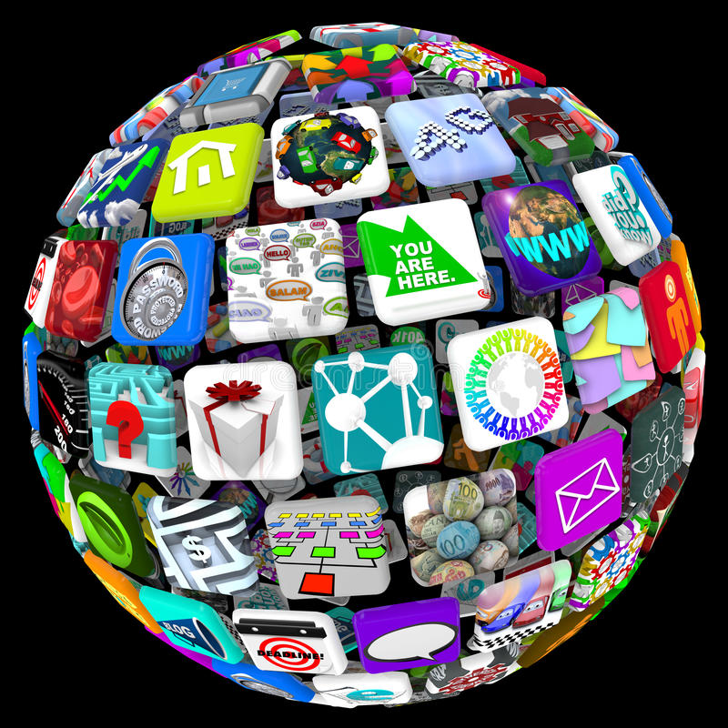 Apps in Sphere Pattern - World of Applications. Many application tiles in a spherical pattern, representing a world of available apps