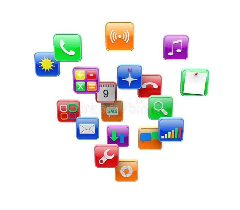 Apps symboler stock illustrationer