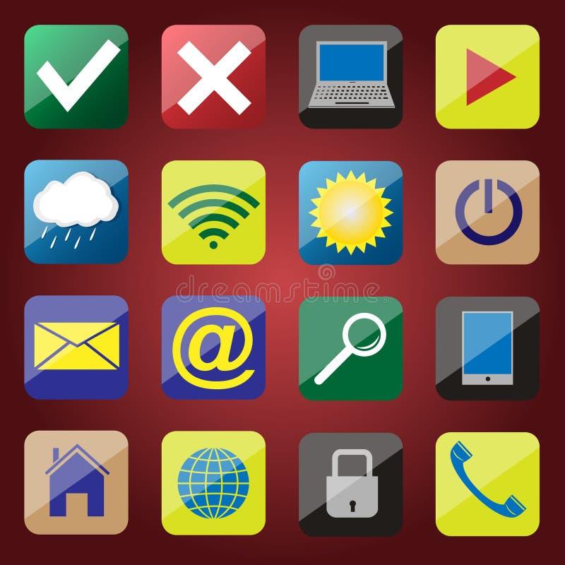 Apps symbolsuppsättning royaltyfri illustrationer