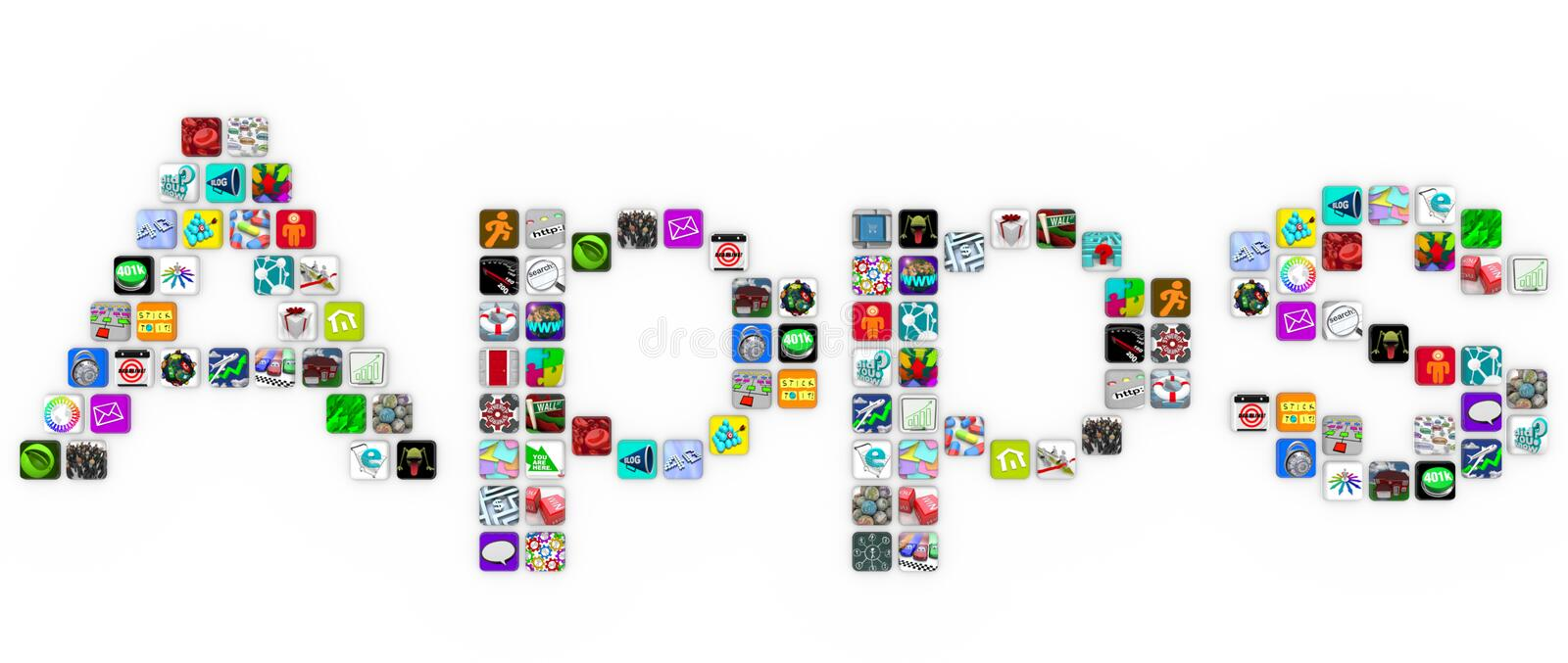 Apps - Tile Icons Form Word on White Background. The word Apps spelled out in app icons on a white background