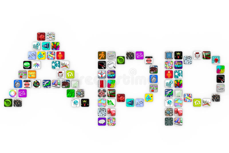 Download Apps - Tile Icons Form Word On White Background Stock Illustration - Illustration: 16411703