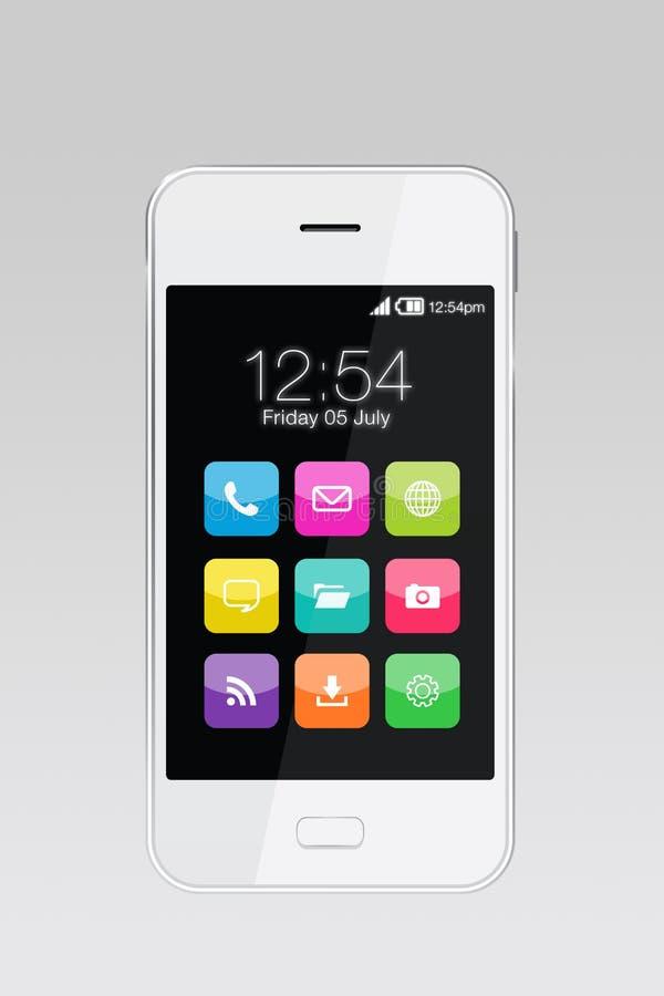 Apps variopinti sullo smartphone fotografia stock libera da diritti