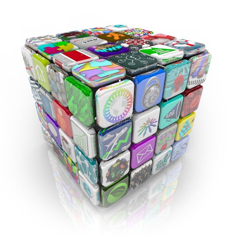 Apps Würfel der Anwendersoftware-Fliesen lizenzfreie abbildung